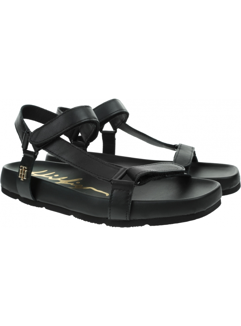 Czarne Sandały TOMMY HILFIGER TH Interlock Flat Sandal FW0FW05623 BDS
