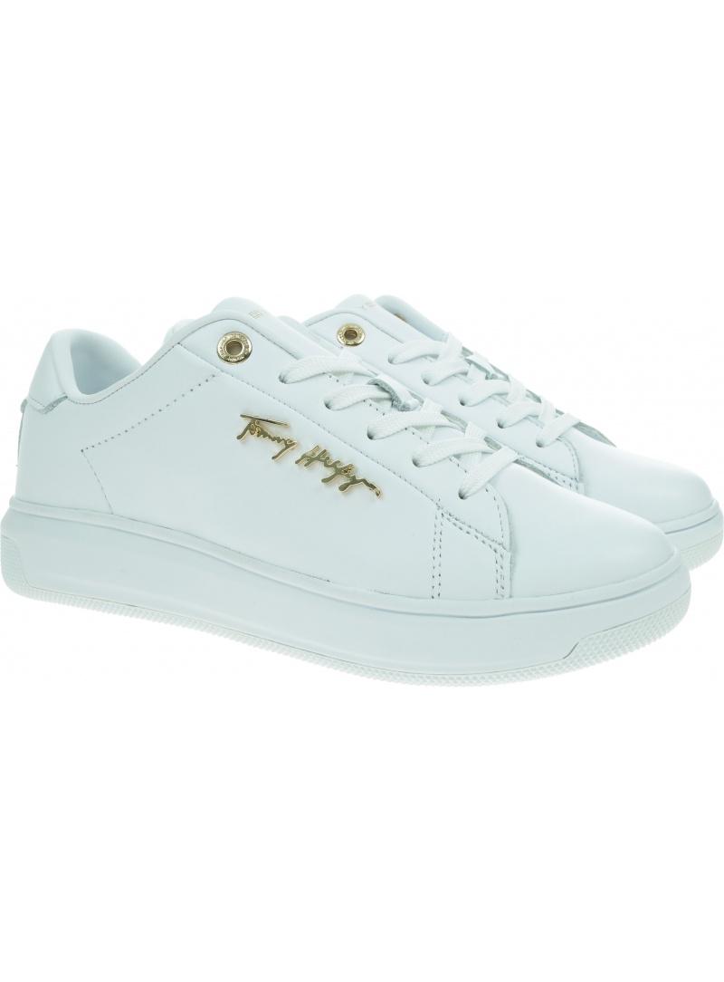Białe Sneakersy TOMMY HILFIGER Signature Leather FW0FW05806 YBR