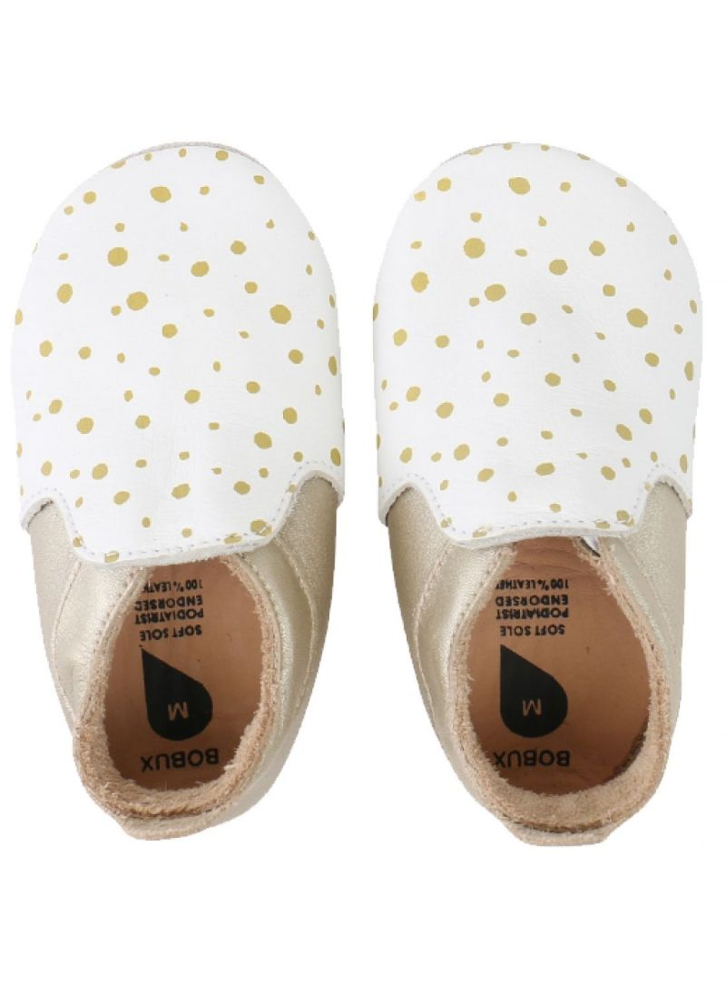 Für Babys BOBUX 4387 WHITE/GOLD SPOTS/GOLD TRIMS LOAFER SOFT