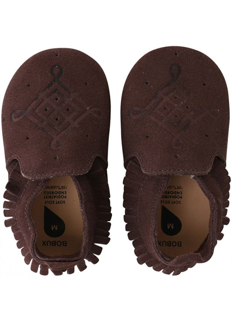 Pro miminka BOBUX 4399 CHOCOLATE/TRIM MOCCASIN LOAFER SOFT SOLE