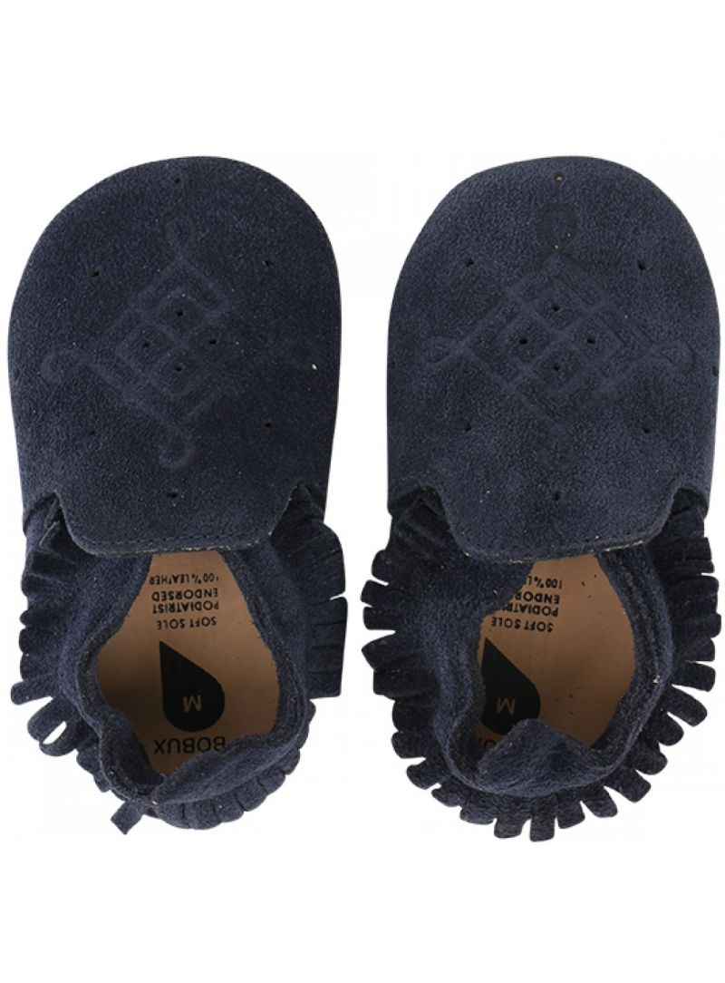 Für Babys BOBUX 4401 NAVY/TASSLE TRIM MOCCASIN LOAFER SOFT SOLE