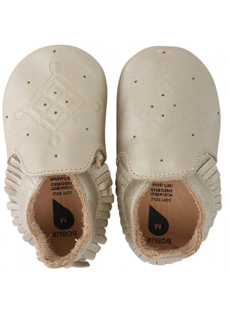 Für Babys BOBUX 4403 GOLD/TASSLE TRIM MOCCASIN LOAFER SOFT SOLE