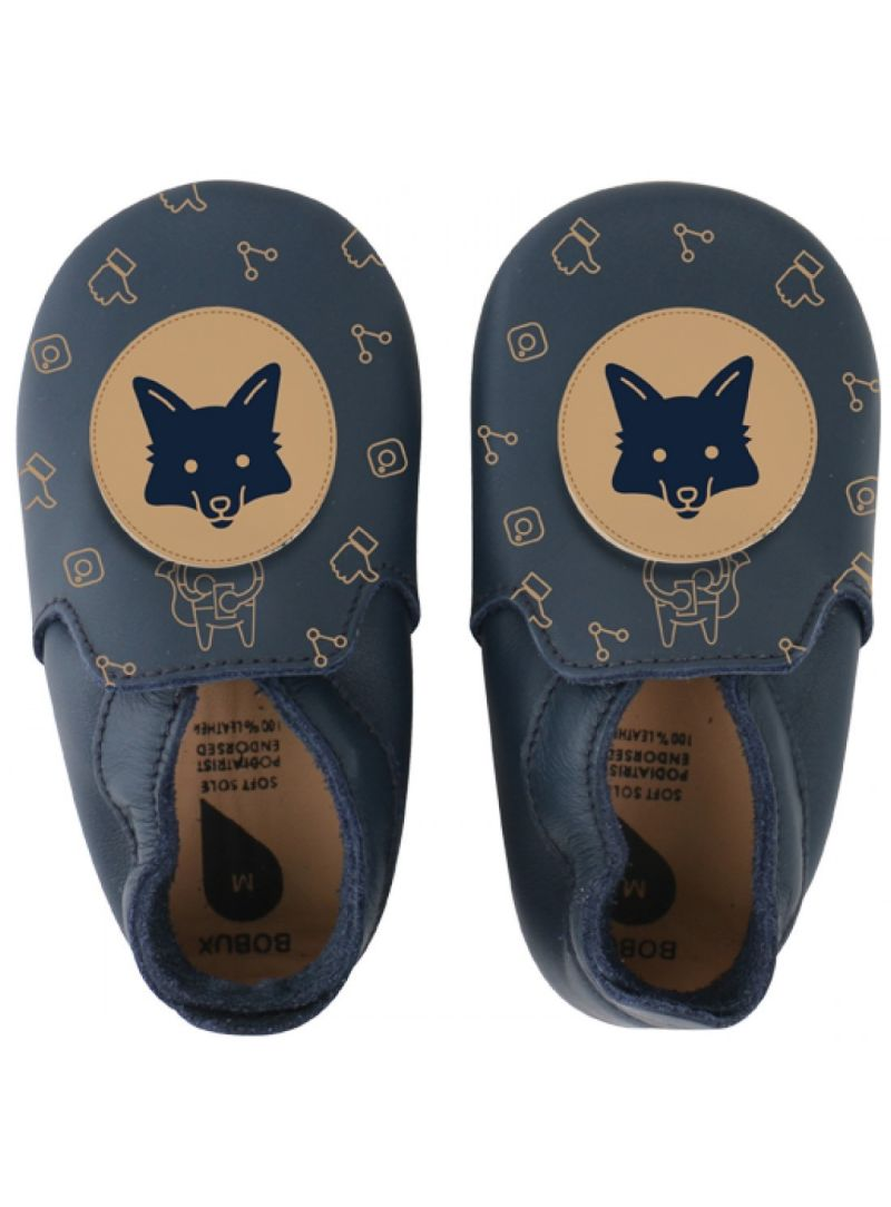Pro miminka BOBUX 4469 NAVY/BEIGE FOX LOAFER PRINT SOFT SOLE