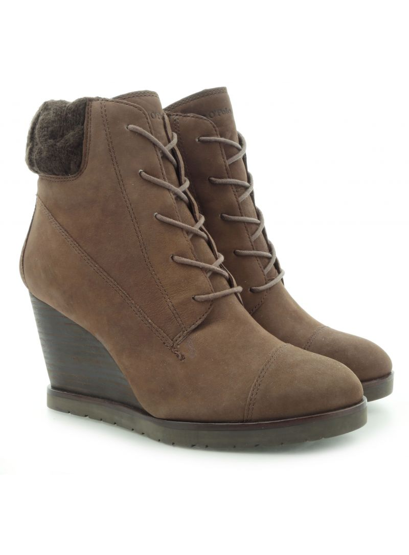 BOTKI MARC O'POLO WEDGE BOOTIE OILY NUBUCK DARK BROWN