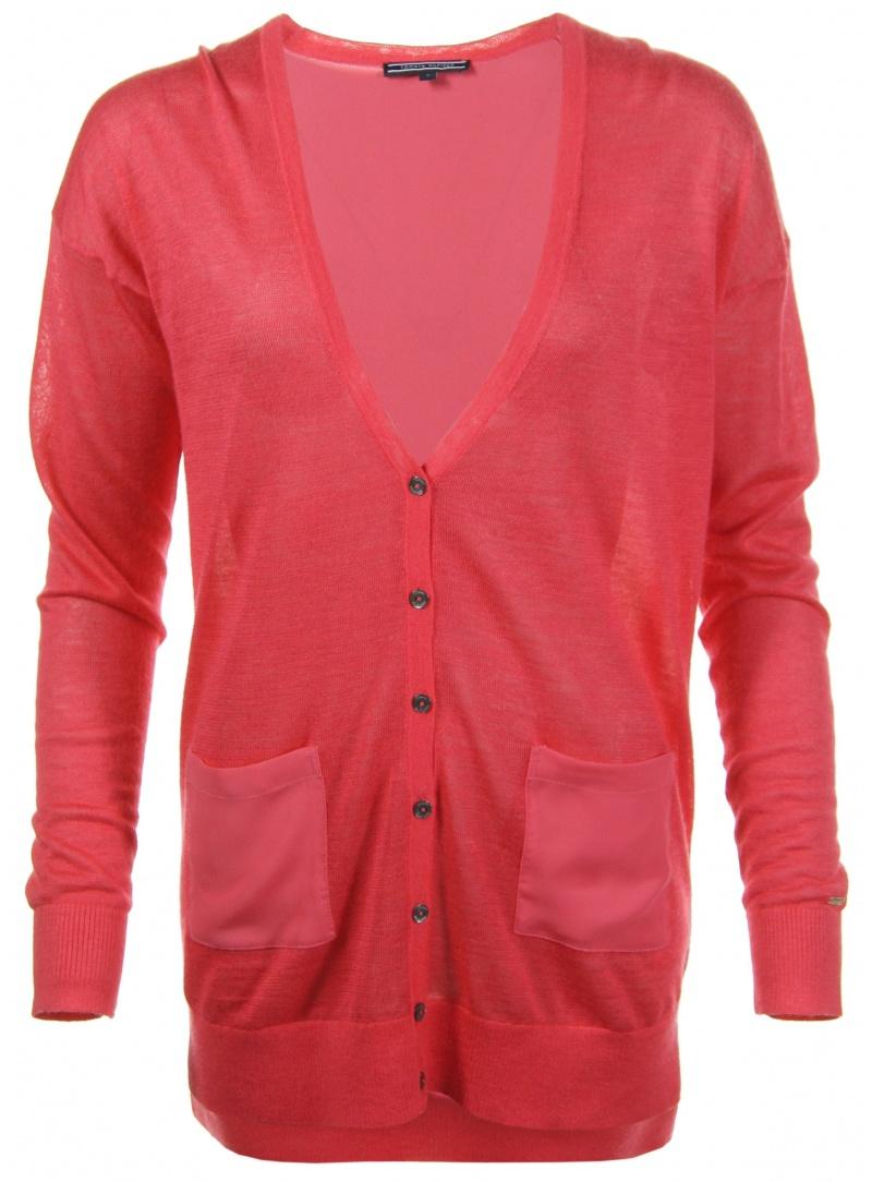 Sweter TOMMY HILFIGER Pepa Fabric Mix V Neck Cardigan Diva Pink
