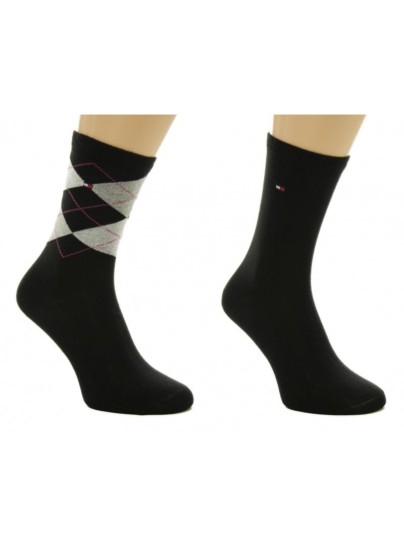 Punčochové kalhoty TOMMY HILFIGER Women Sock Check 2 Pairs Black