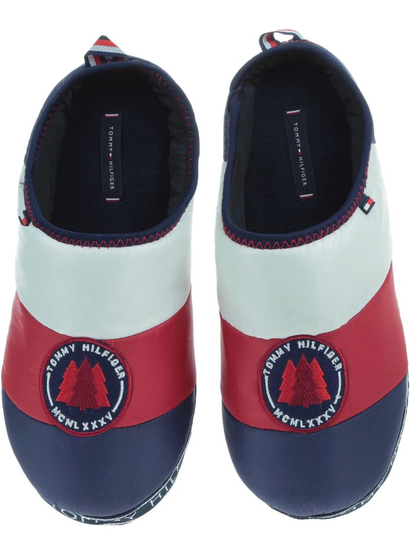 GRANATOWE KAPCIE TOMMY HILFIGER Downslipper Patch FM0FM02005