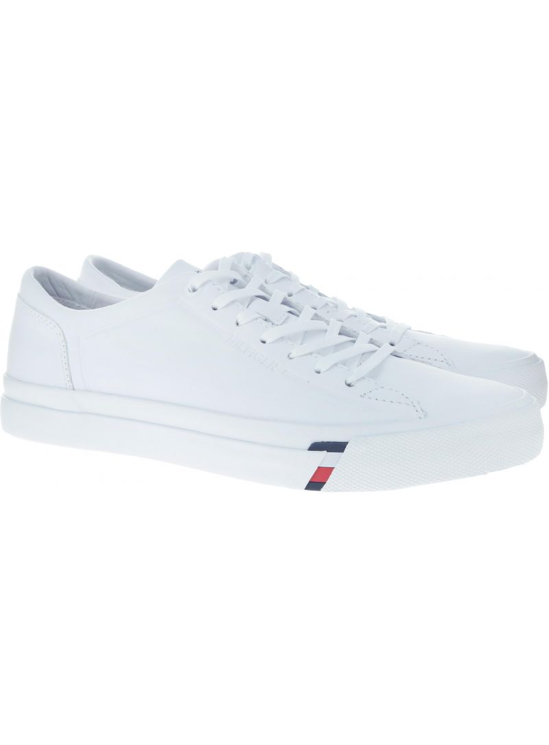 Białe skórzane Półbuty Tommy Hilfiger CORPORATE LEATHER SN