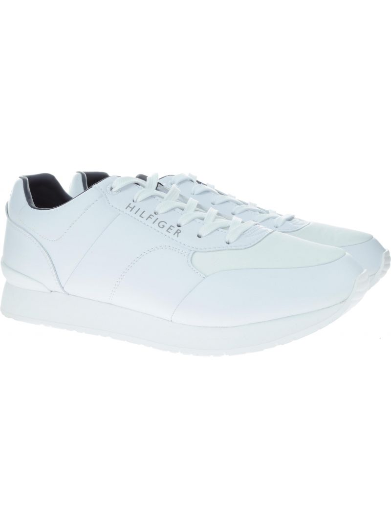 Białe półbuty Tommy Hilfiger CORPORATE LEATHER RU WHITE -