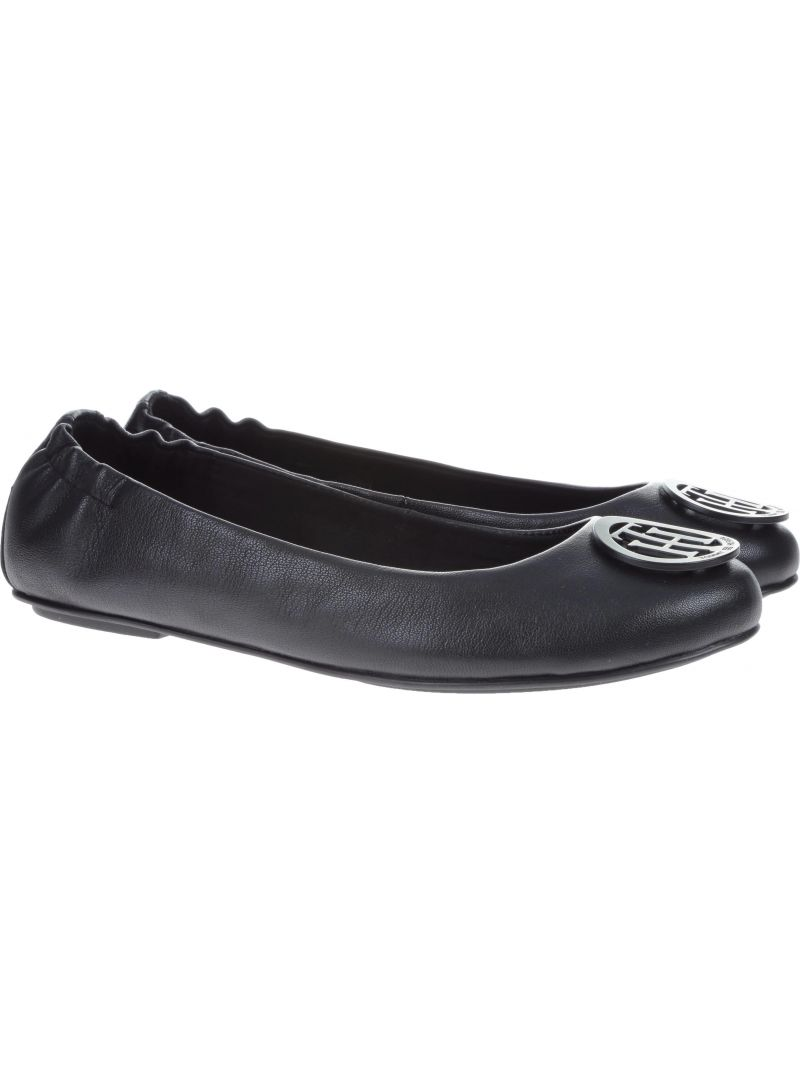 Balerinki Tommy Hilfiger FLEXIBLE LEATHER BAL BLACK - Baleriny