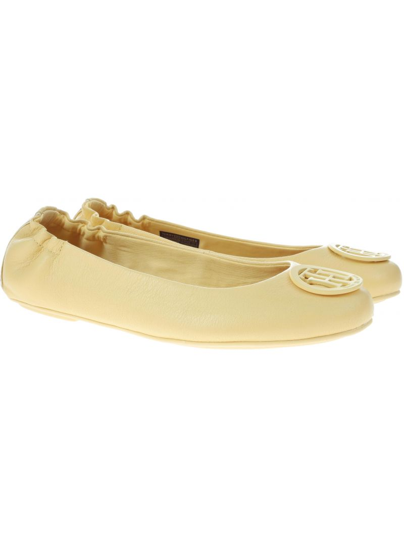 Baleriny Tommy Hilfiger FLEXIBLE LEATHER BAL Golden Haze -