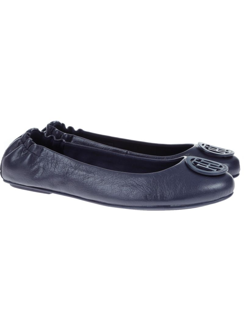 Baleriny Tommy Hilfiger FLEXIBLE LEATHER BAL TOMMY NAVY -