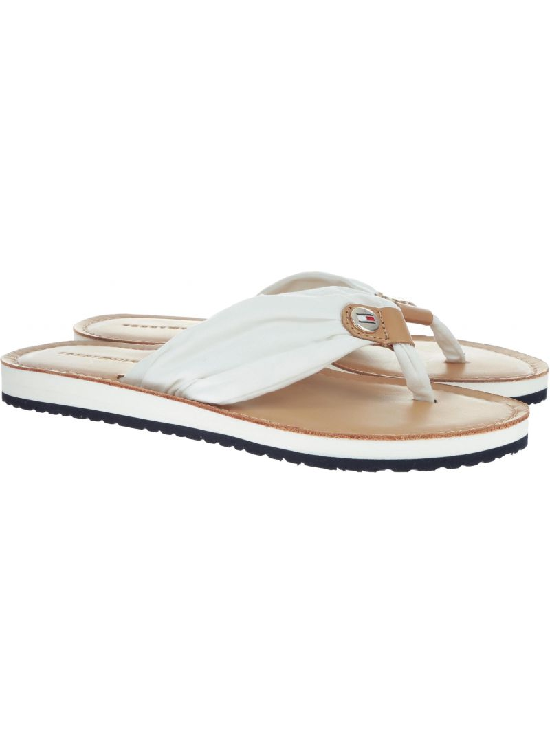Japonki Tommy Hilfiger LEATHER FOOTBED BEAC WHISPER WHITE -