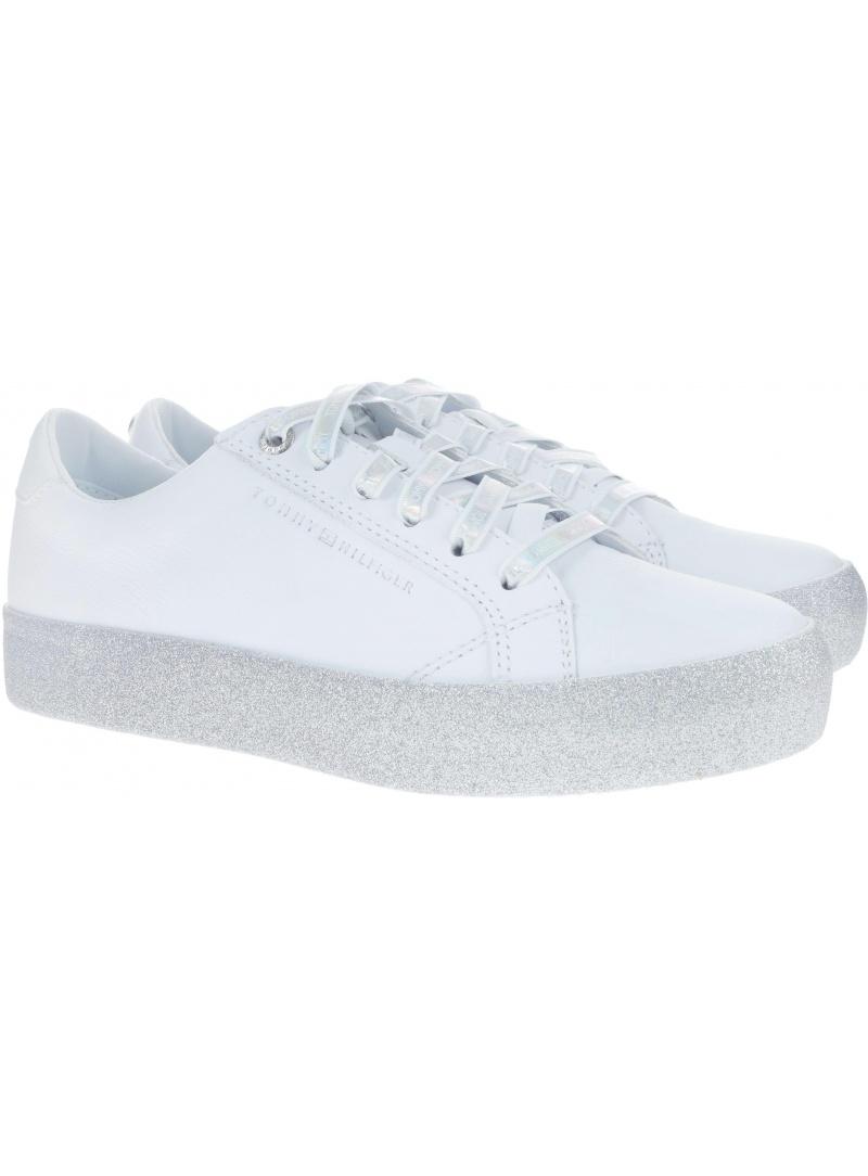 Białe Półbuty Tommy Hilfiger GLITTER DRESS SNEAKE WHITE -