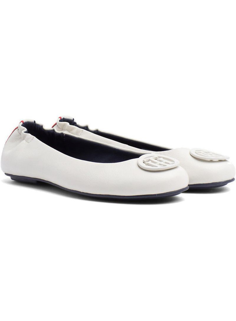 Balerinki Tommy Hilfiger FLEXIBLE LEATHER BAL WHISPER WHITE -