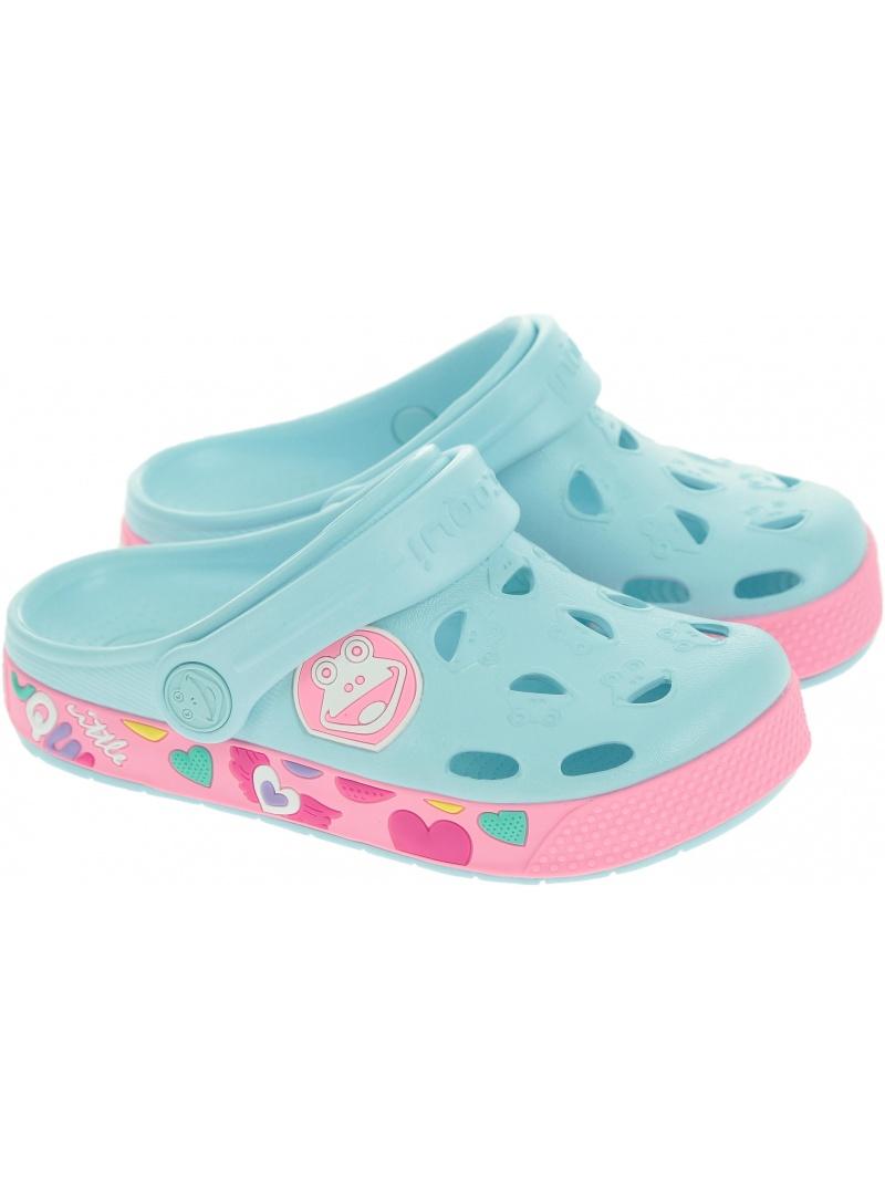 Lekkie Klapki COQUI Froggy 8802 Pastel Blue/Dk.Pink - Japonki