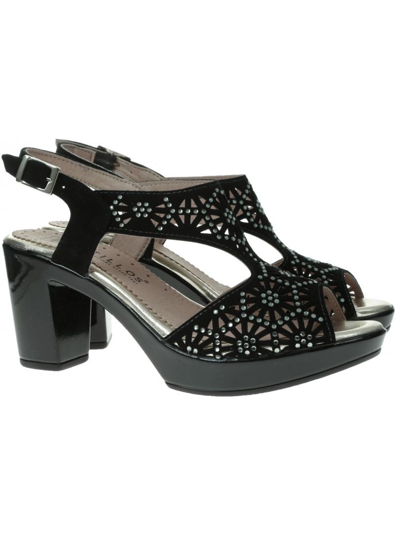 Czarne Sandały na obcasie PITILLOS 2900 NEGRO - Sandały