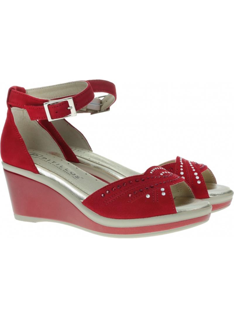 Czerwone Sandały na koturnie PITILLOS 5533 Rojo - Sandały