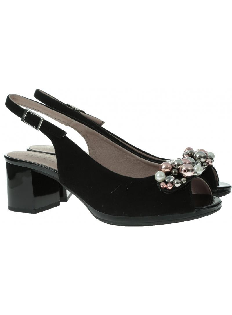 Czarne zamszowe Sandały PITILLOS 5564 NEGRO - Sandały
