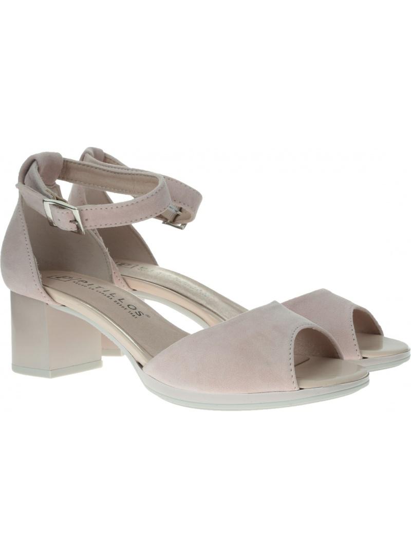 Różowe Sandały na obcasie PITILLOS 5565 Nude - Sandały