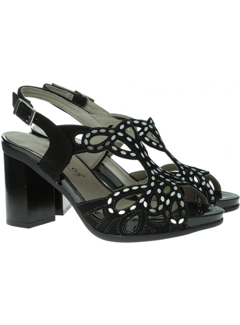 Czarne Stabilne Sandały PITILLOS 5580 NEGRO - Sandały