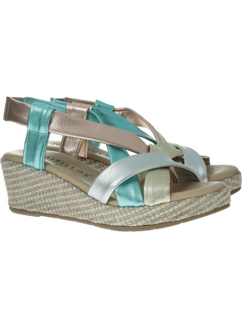 Kolorowe Sandały na koturnie PITILLOS 5663 MULTIMETAL - Sandały