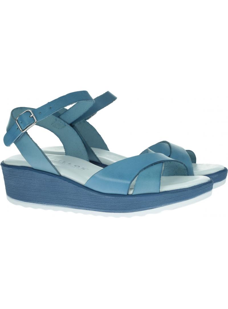 Niebieskie Sandały na koturnie PITILLOS 5690 AZUL - Sandały