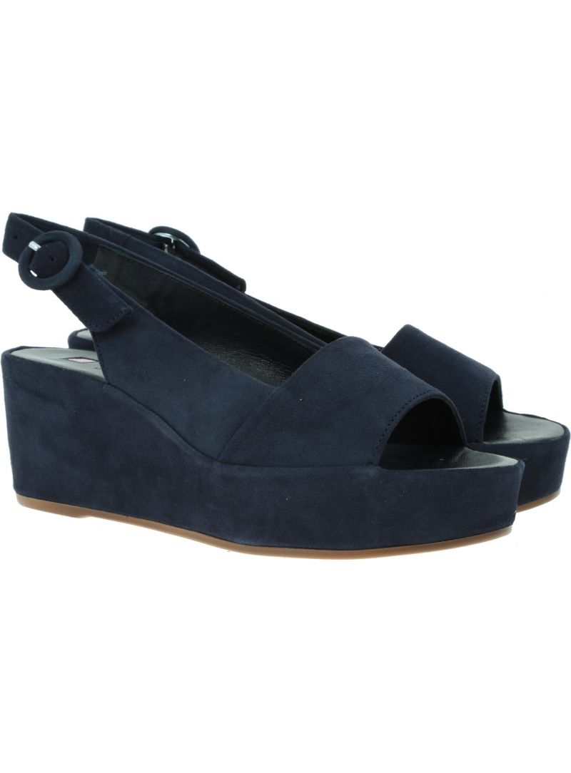 Granatowe Zamszowe Sandały HOGL 7-10 3202 blue - Sandały