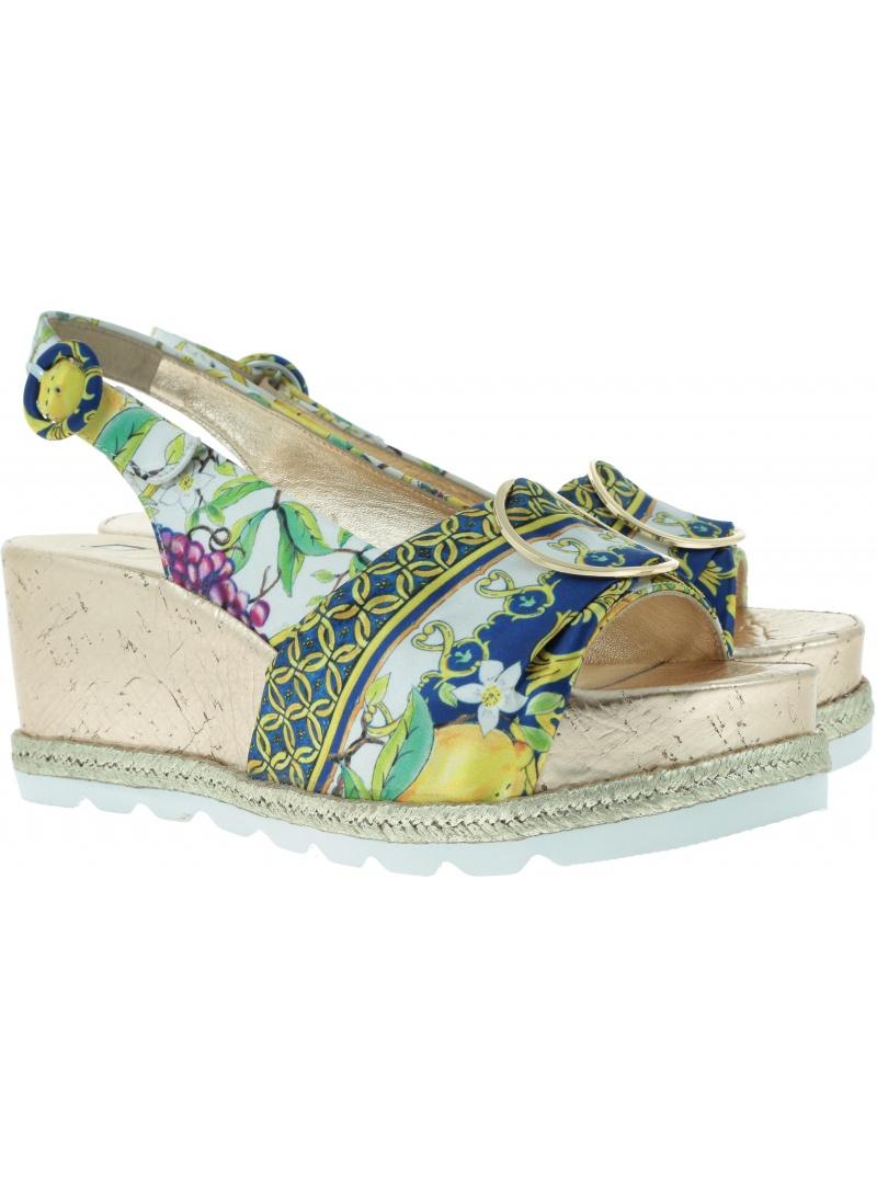 Kolorowe Sandały HOGL 7-10 3226 blue/multi - Koturny