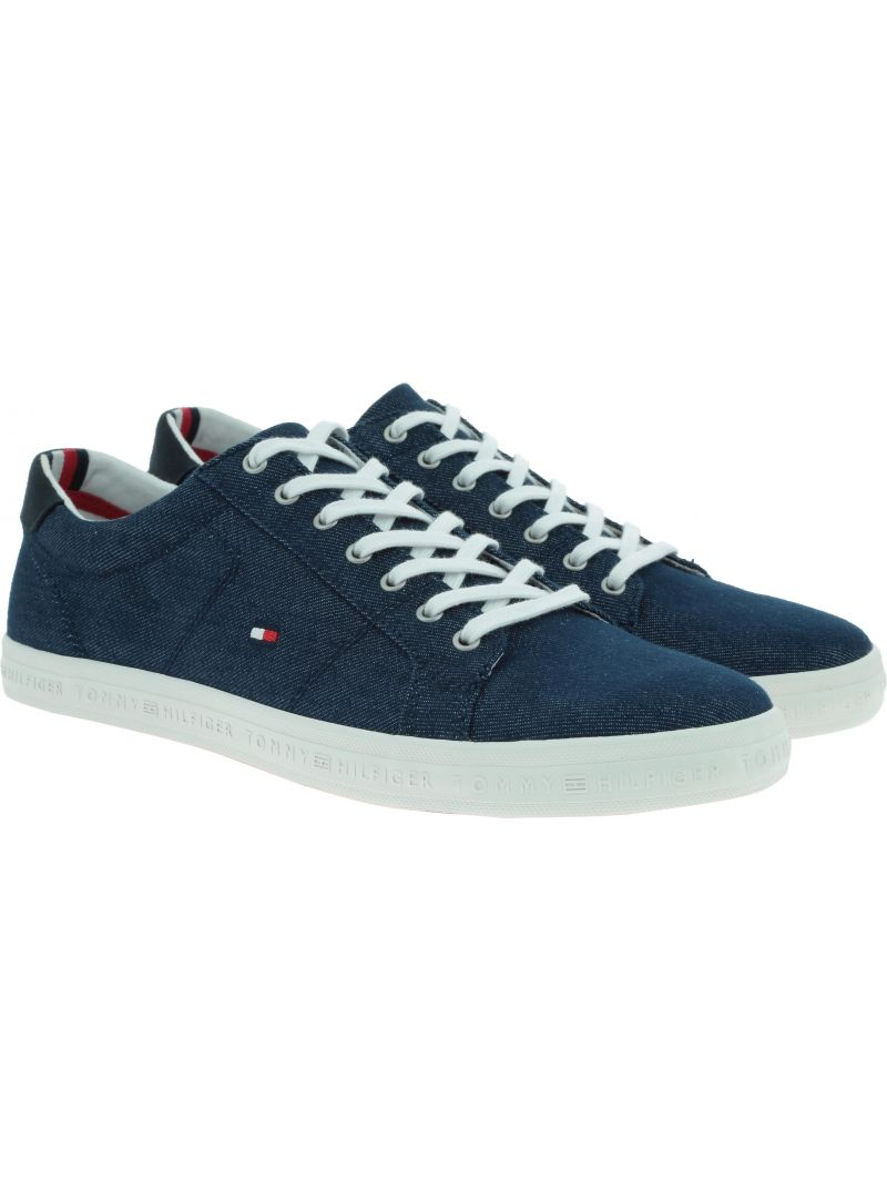 Denimowe Trampki Tommy Hilfiger ESSENTIAL LONG LACE MIDNIGHT FM0FM00473 403