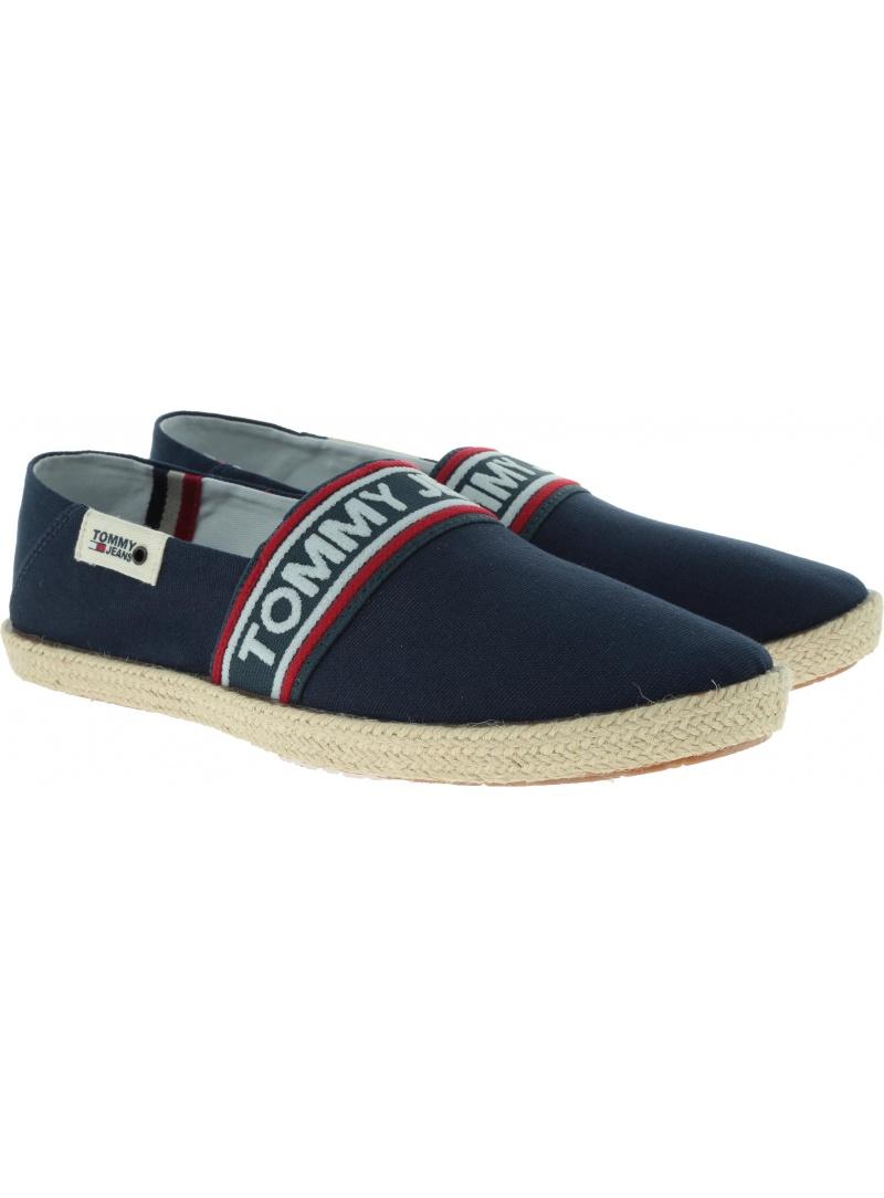 Granatowe Espadryle Męskie Logowane Tommy Hilfiger Jeans Summer Shoe