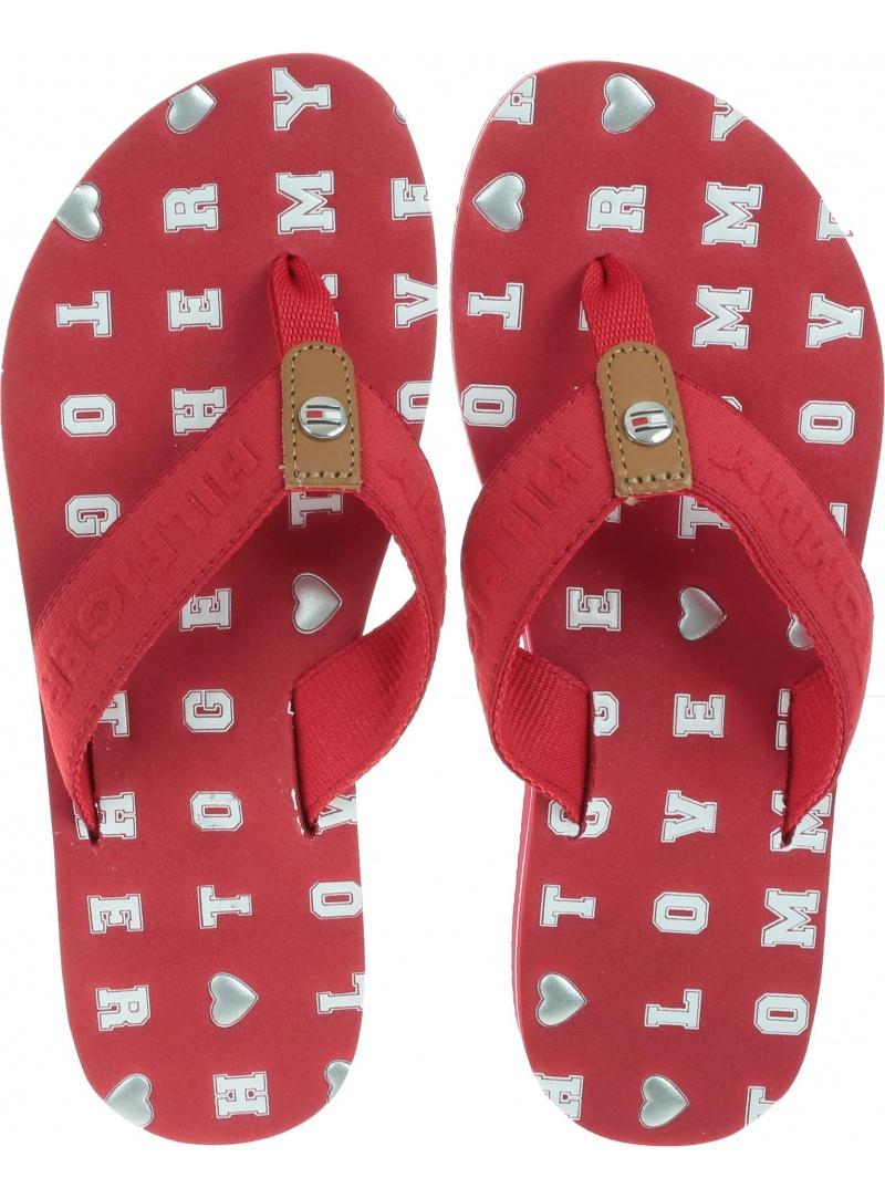 Czerwone Japonki Tommy Hilfiger Flat Beach Sandal Embossed FW0FW03889 611