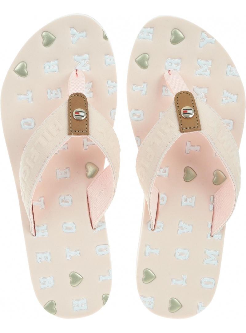 Różowe Japonki Tommy Hilfiger Flat Beach Sandal Embossed FW0FW03889 658
