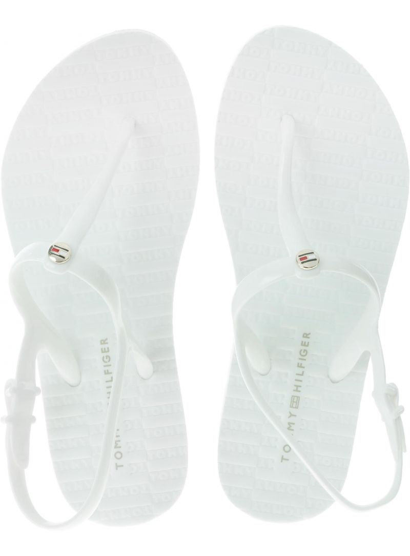 Białe Sandały Japonki Tommy Hilfiger FLAT STRAPPY BEACH FW0FW03923 100
