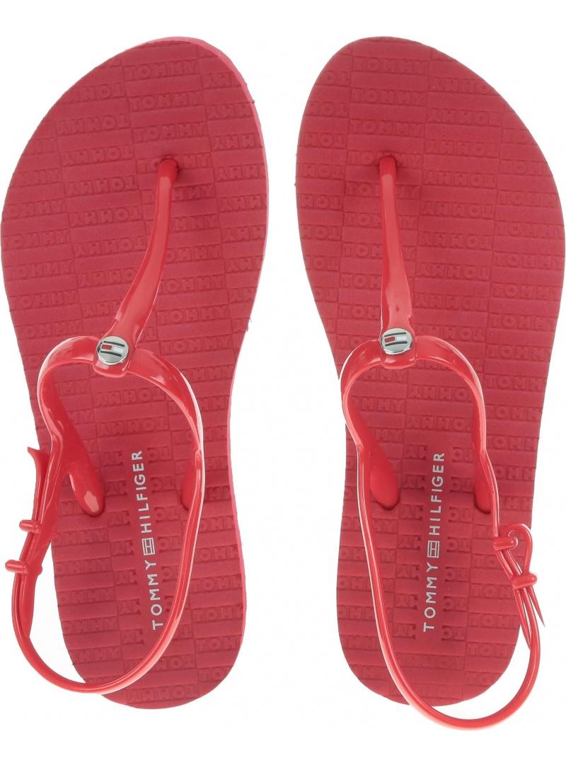 Czerwone Sandały Japonki Tommy Hilfiger FLAT STRAPPY BEACH FW0FW03923 611