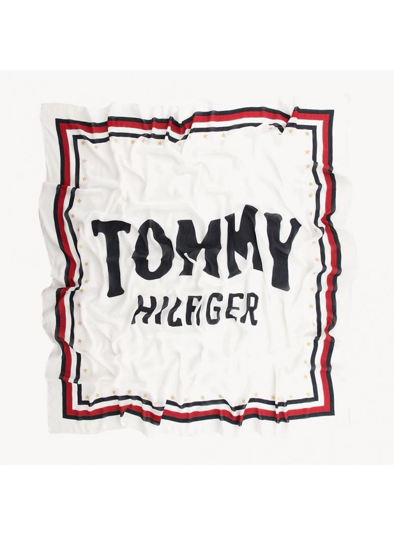 Biała Chusta Tommy Hilfiger Bold Tommy Square AW0AW06595 104