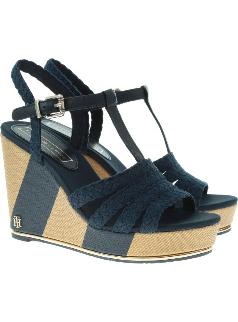 TOMMY HILFIGER Printed Wedge Sandal FW0FW03934 403