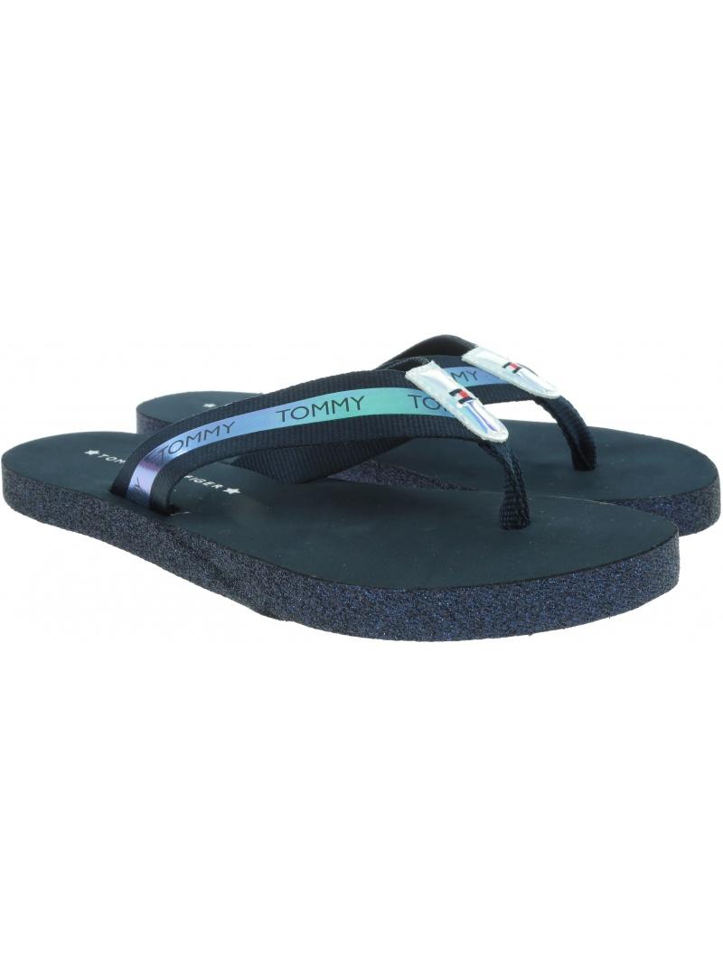 Granatowe Japonki TOMMY HILFIGER Flat Beach Sandal Ir FW0FW04016 403