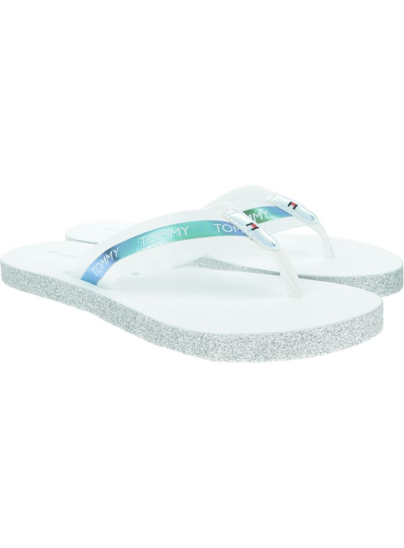 Białe Japonki TOMMY HILFIGER Flat Beach Sandal Ir FW0FW04016 100