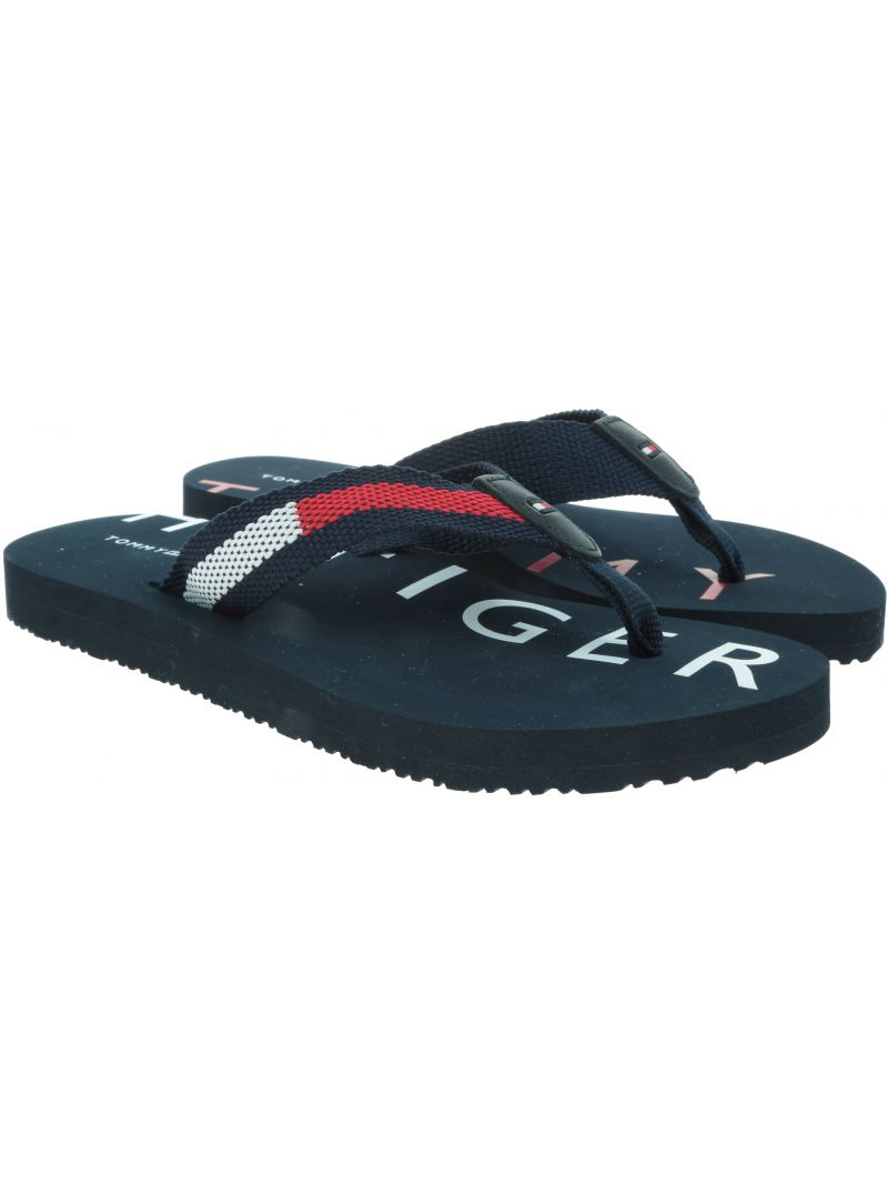 Grantowe Japonki TOMMY HILFIGER Flat Beach Sandal Hi FW0FW03887 020