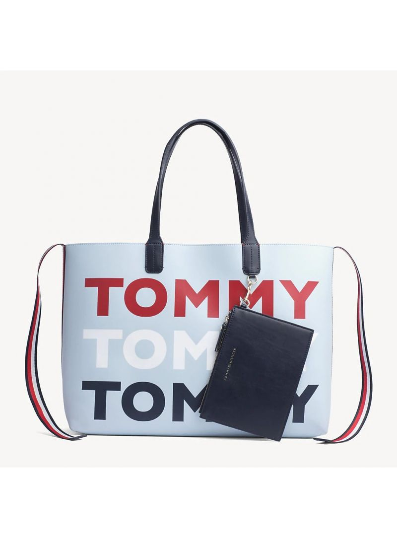 Niebieska Shopperka TOMMY HILFIGER Iconic Tommy Tote AW0AW06446 413