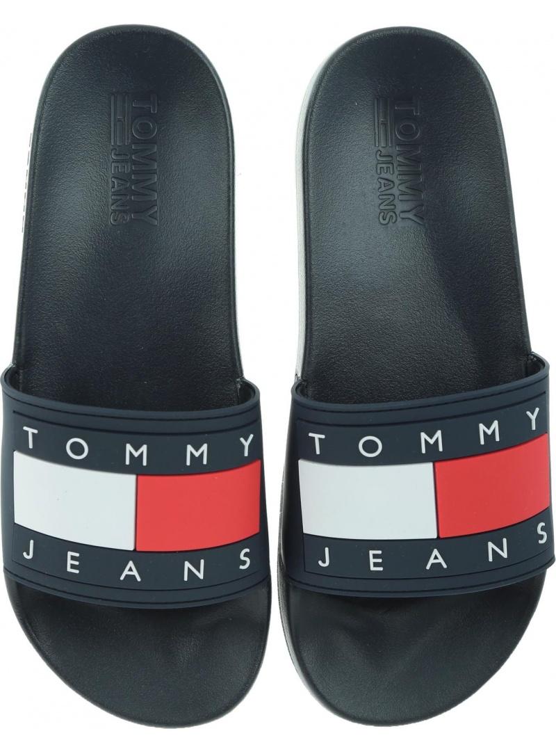 Granatowe Klapki TOMMY HILFIGER Tommy Jeans Flag Poo EM0EM00284 403