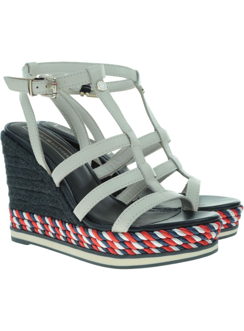 Białe Espadryle TOMMY HILFIGER Colorful Rope Wedge FW0FW03821 121