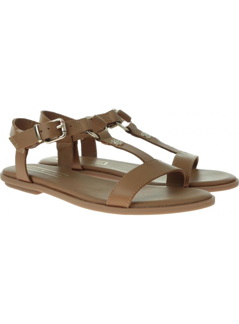 Brązowe Sandały TOMMY HILFIGER Elevated Leather Fla FW0FW03946 929