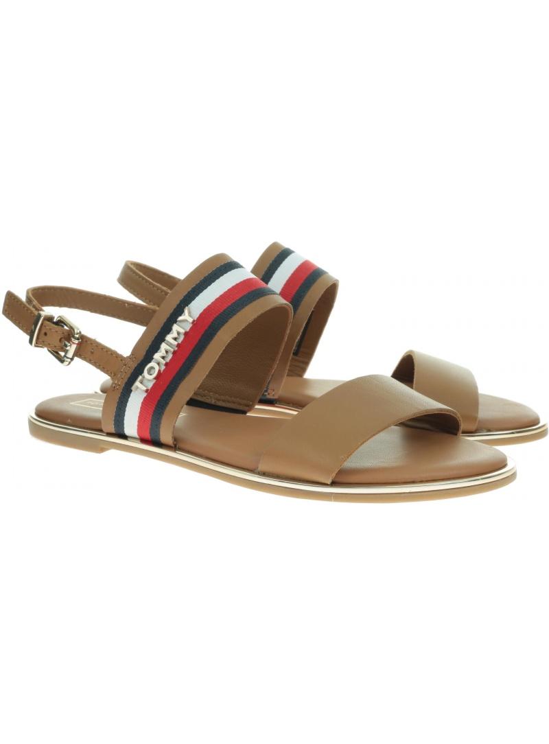 Brązowe Sandały TOMMY HILFIGER Flat Sandal Corporat FW0FW04049 929