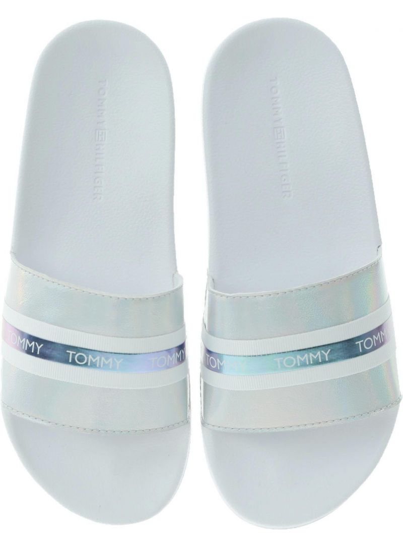Białe Klapki TOMMY HILFIGER Pool Slide Shiny Iridescent FW0FW04086 White