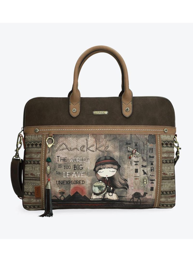 ANEKKE Brown Synthetic Briefcase 29894-10