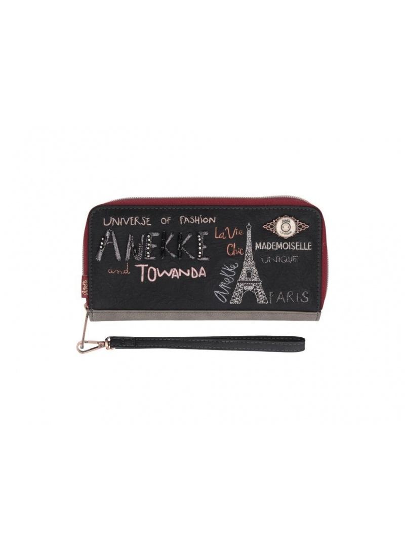 ANEKKE Black Synthetic Zip Wallet 29889-08