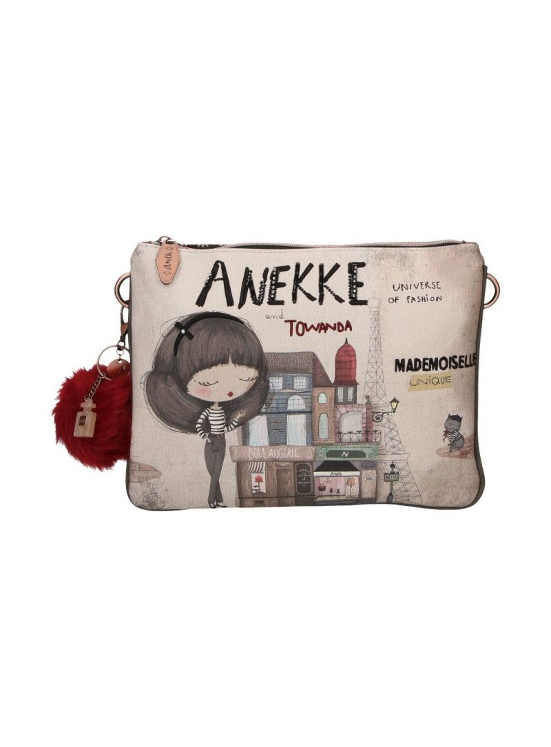 Listonoszka ANEKKE Couture Beige Textile Shoulder Bag 29882-59