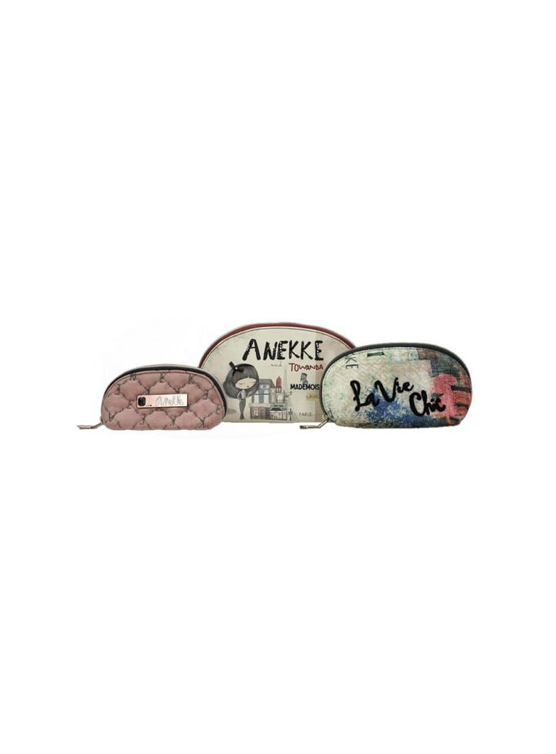 ANEKKE Beig Textile Toiletry Bags-3 Sizes 29887-22